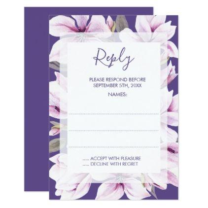 Magnolia Violet Floral Wedding Reply Cards - wedding invitations diy cyo special idea personalize card