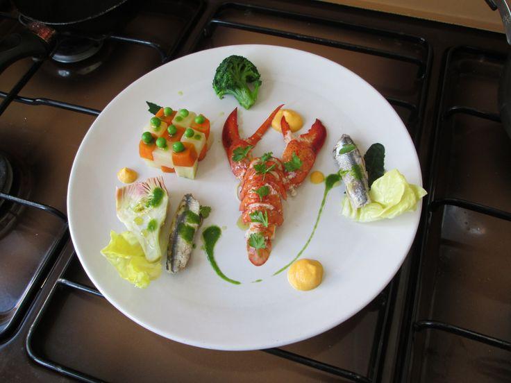 Gino D'Aquino / 1'Insalata  di astice   verdure  alici e  mayonese di carota  Gino D'Aquino