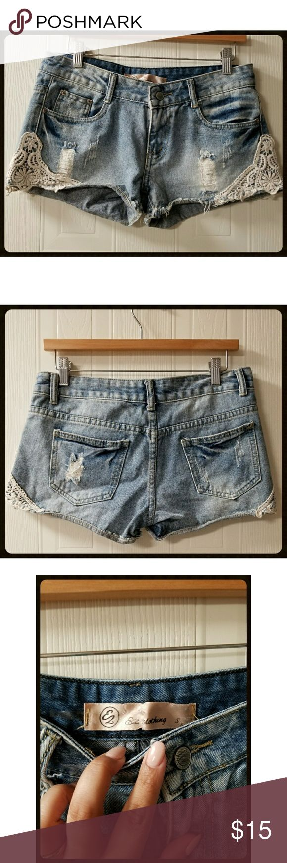 Ez clothing denim shorts Stitched crochet  sides faded worn denim EZ Clothing Shorts Jean Shorts