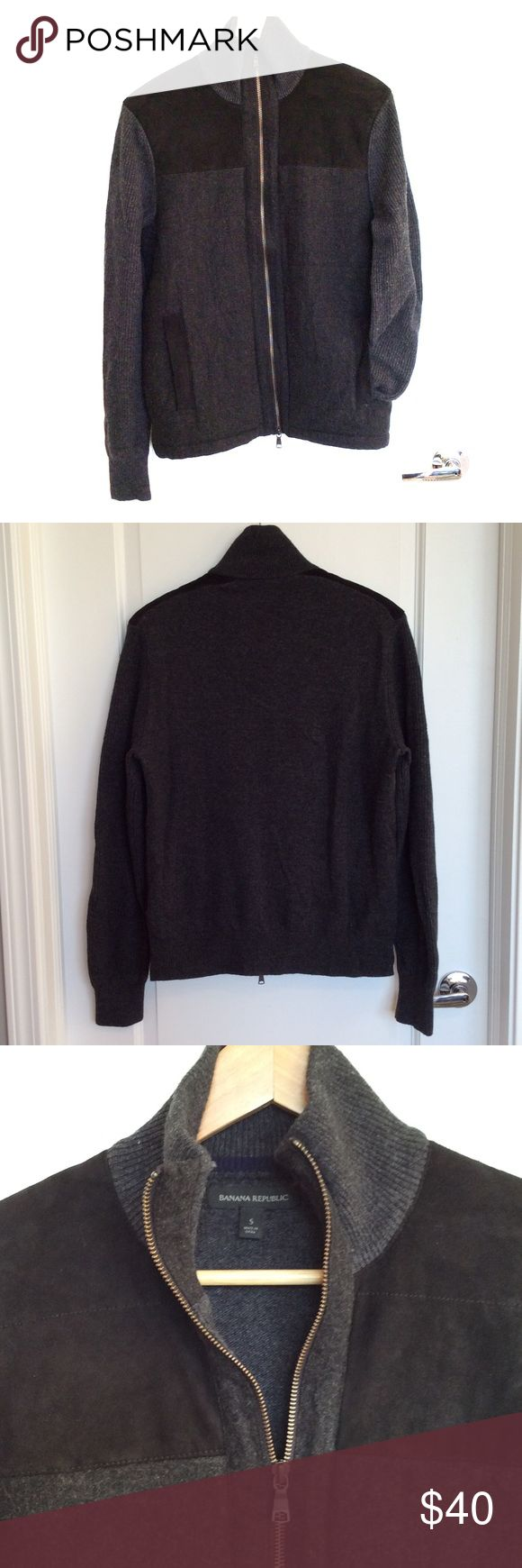 Banana Republic wool jacket, lamb leather trim Banana Republic gray men's wool jacket with black lamb leather trim. Size small. Excellent condition. No piling. Non-smoking household. Banana Republic Jackets & Coats Lightweight & Shirt Jackets