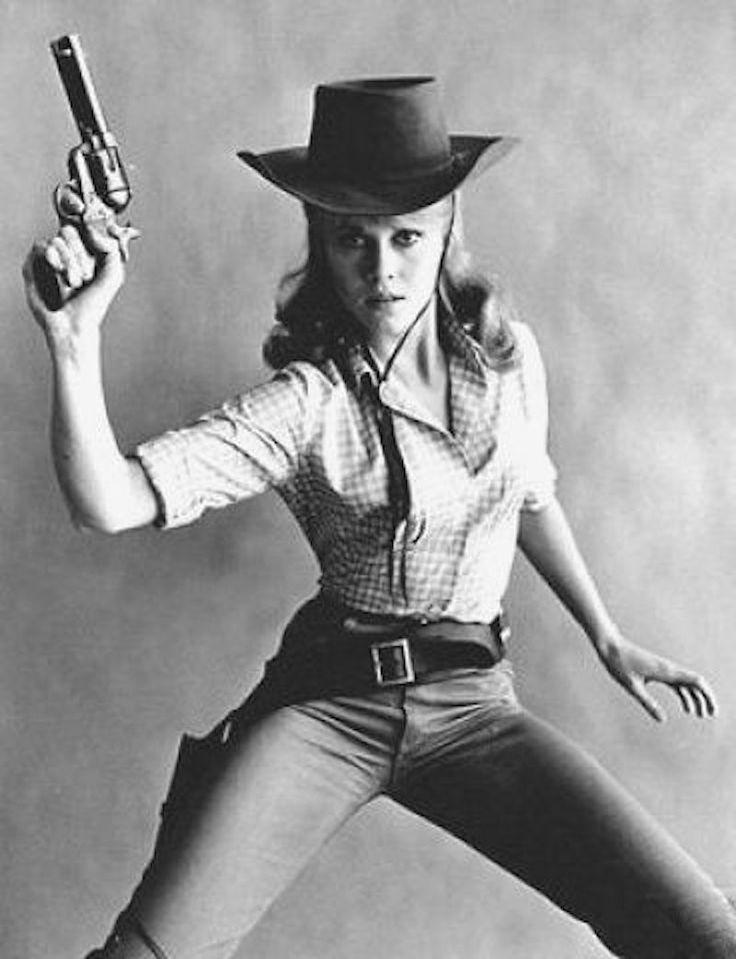 Jane Fonda still holdin' em up in Cat Ballou (1965)