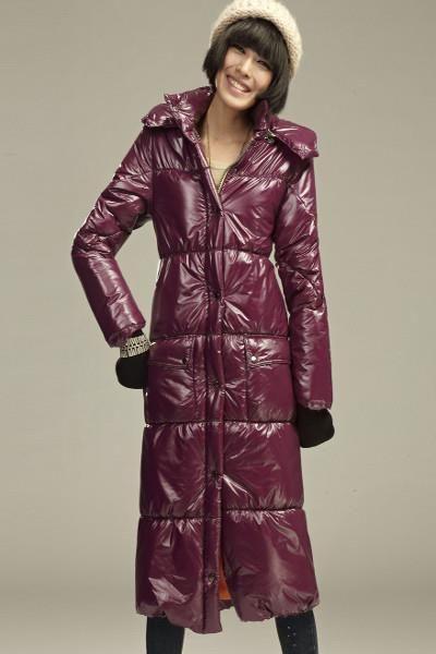 Длинное пуховое пальто женское