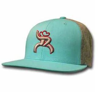 """Snap back cap: One Size Fits Most """"Hawk"""" turquoise snapback cap has Roughy Man embroidered in raised gray thread and outlined in red on the front panel. Back"""
