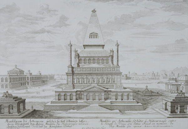 Johann Bernhard Fischer von Erlach Mausoleum of Mausolos Halicarnassus Bodrum Turkey from Entwurf Einer Historischen Architektur (1721)