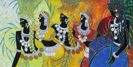 Festive Rhythm - I by Anuradha Thakuron Artflute.com