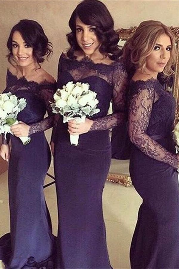 Charming Off-the-shoulder Sweep Train Long Sleeves Mermaid Bridesmaid Dress with Lace Sleeves