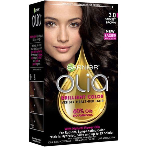 Garnier Olia Brilliant Color 3 0 Darkest Brown In 2020 Permanent