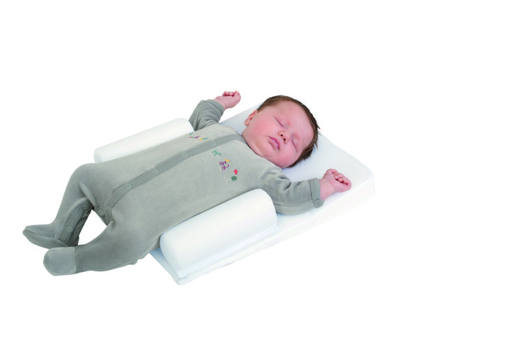 Supreme Sleep - Made from soft, breathable viscoelastic foam this sloped mat has adjustable rolls down each side to position your baby on its back whilst preventing the risk of plagiocephaly (flat head syndrome).  The slope of the Supreme Sleep can also help reduce problems associated with colic and reflux.  Suitable from birth.