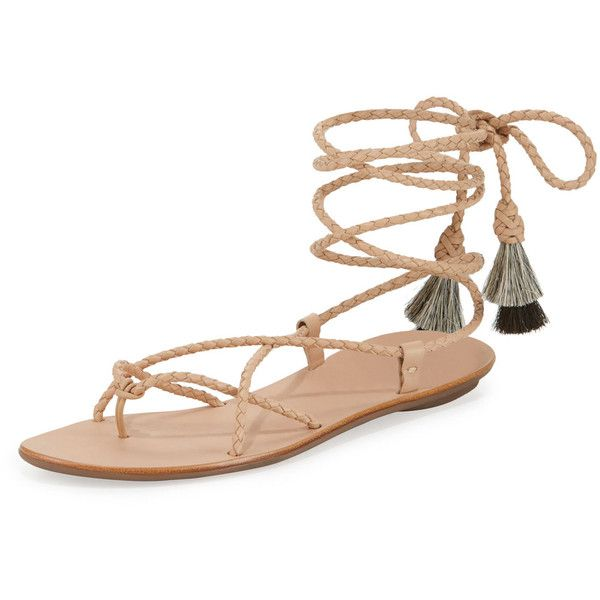 Loeffler Randall Braided Lace-Up Tassel Flat Sandal (322 AUD) ❤ liked on Polyvore featuring shoes, sandals, nude sandals, black flat sandals, black lace up flats, black flats and black lace up sandals