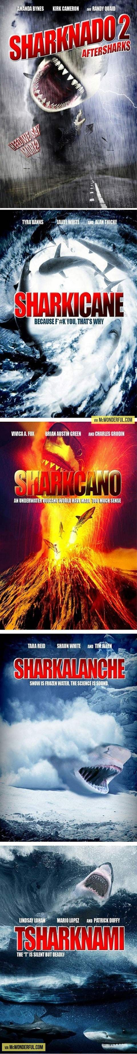 Possible sequels to Sharknado… I'd watch every one of them!!