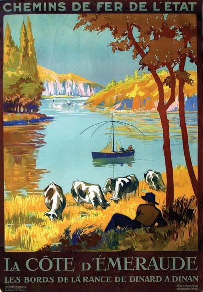 chemins de fer de l'état - La Côte d'Emeraude - Les bords de la Rance de Dinard à Dinan - illustration de Galland - 1926 - France -