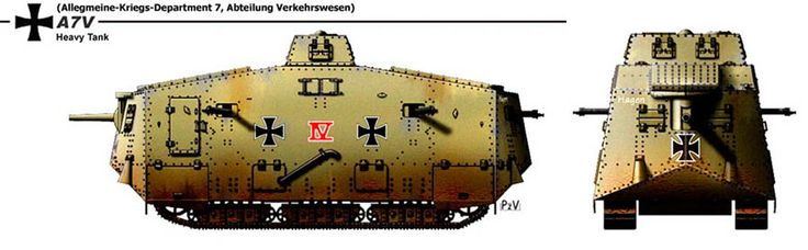 """Near the end of World War I Germany introduced the A7V tank in 1918 (the only tank used by Germany in WW1 operations). British forces respectfully called it the """"Moving Fortress"""": Re-Pinned by HistorySimulation.com"""