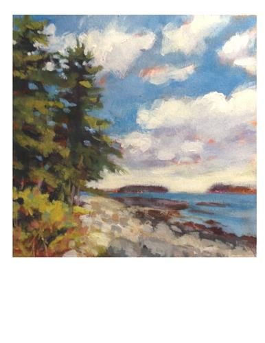 """Daily Paintworks - """"Port Clyde Summer Day II"""" - Original Fine Art for Sale - © Suzanne Woodward"""