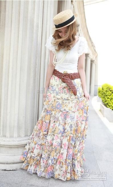 Floral maxi skirt with a leather belt and a white tee. Too cute! Perfect for spring.