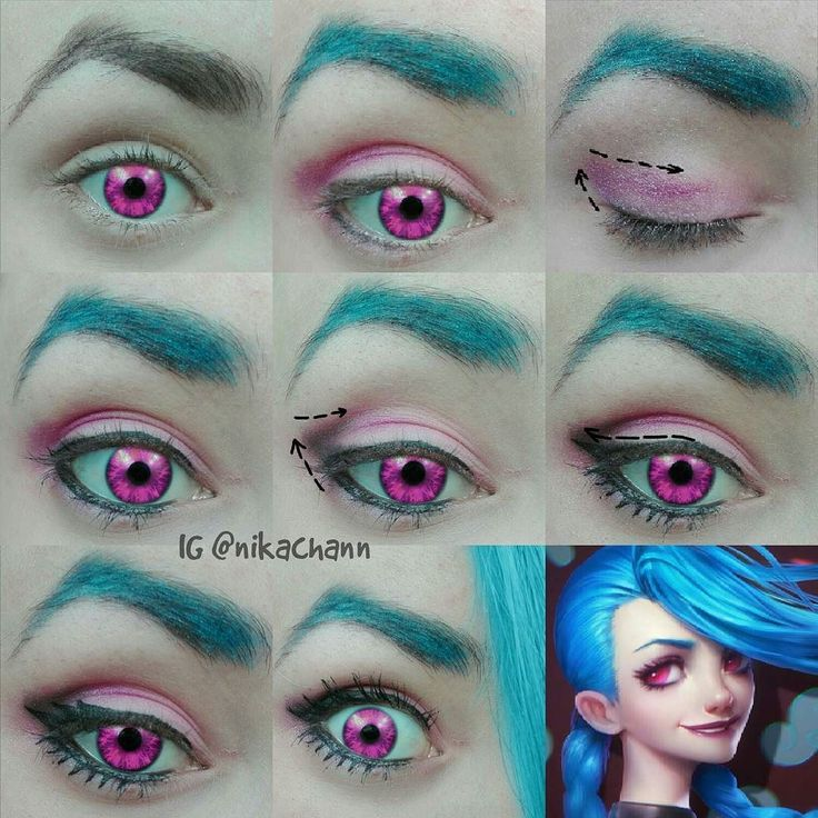 Jinx eye make-up tutorial (Fan art of Jinx on right down don't belong to me!)…