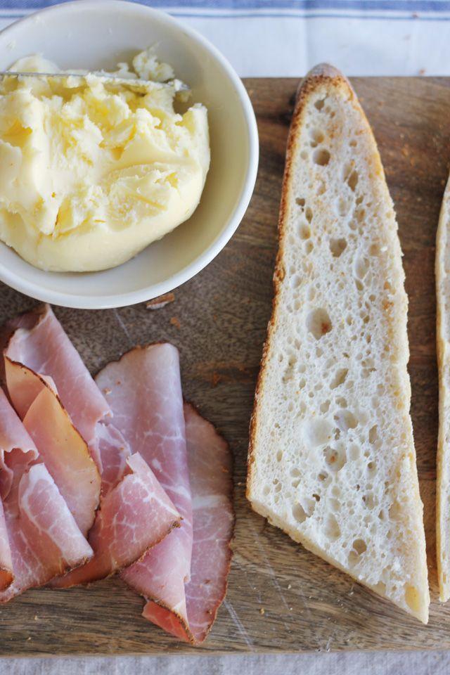 Parisian ham (Jambon de Paris) and butter sandwich. THE classic French café lunch, or, if you prefer, un sandwich mixte ~ Jambon et Gruyere, all on a delicious baguette, with sweet French butter.