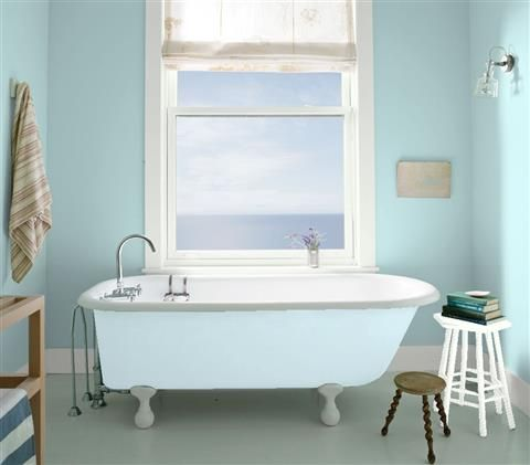 Possible wall color for master bathroom. Look at the paint color combination I created with Benjamin Moore. Via @benjamin_moore. Wall: Paradiso 717; Trim: Distant Gray 2124-70; Tub: Breath of Fresh Air 806.