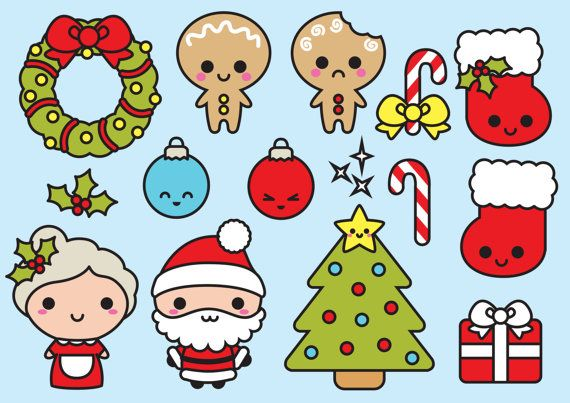 Haute qualité vector clipart. Clipart Noël kawaii. Cute Christmas vector clipart. Parfait pour créer des cartes de vœux, des invitations et