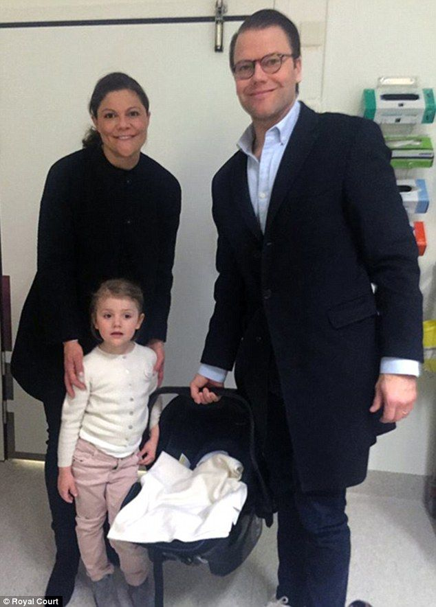 Crown Princess Victoria, Prince Daniel and Princess Estelle leave hospital with their new addition, Prince Oscar Carl Olof