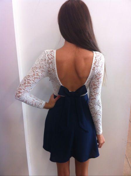 White/Navy Lace Long Sleeve Dress - Back (LOVE)!!!!