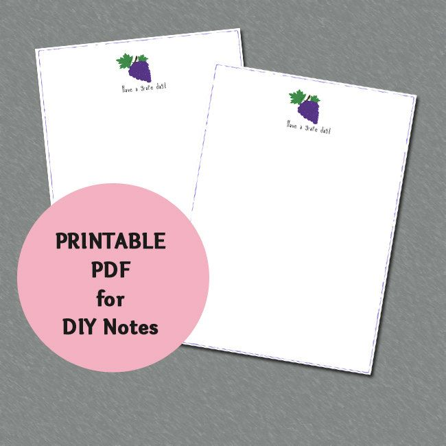 """Instant Download - DIY Blank Notes """"Have a grape day!"""" by CuteCoconutShop on Etsy"""