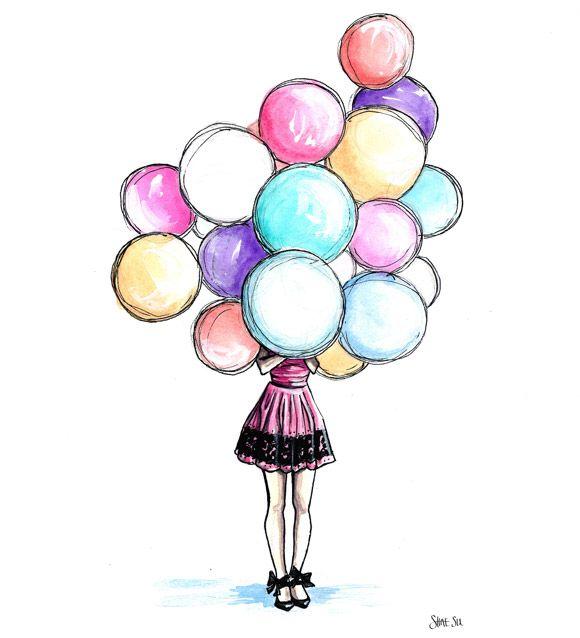 Шаблоны, картинка девочка с шариками нарисованная