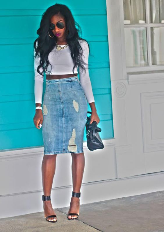 79 best Jean skirts images on Pinterest