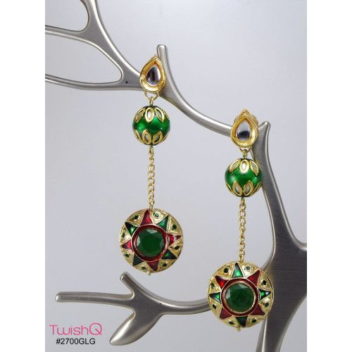Indian ethnic meena work wedding party dangler earrings green color by TwishQ  Designer - Nishant Manchanda  Check out this design at - http://www.twishq.com/earring/ethnic/indian-ethnic-meena-work-wedding-party-dangler-earrings-green-color-by-twishq