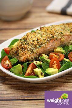 Herb Crusted Salmon Salad. #HealthyRecipes #DietRecipes #WeightLossRecipes weightloss.com.au