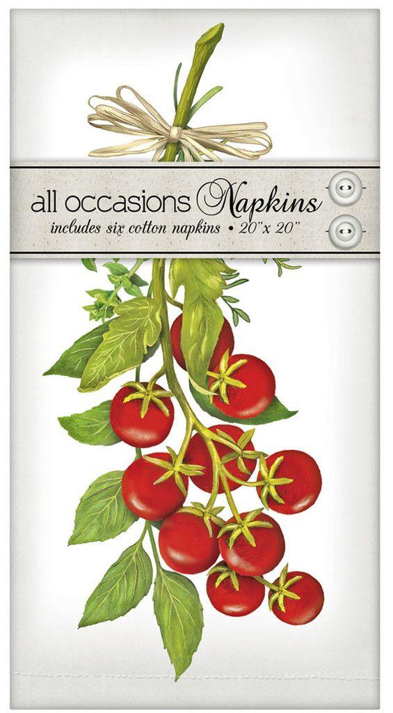 "Cherry Tomato Vine - Set of 6 Cotton Everyday Napkins - 20"" x 20"" www.aloveofdishtowels.com"
