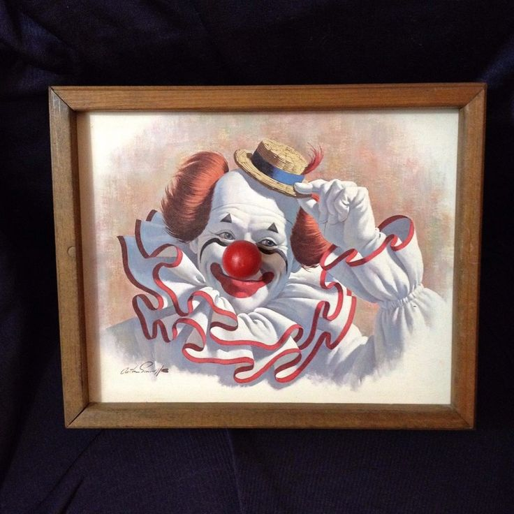 """Musical Clown Framed Print 8"""" x 10"""" Plays """"Send In The Clowns"""" Chime #Handcrafted #Handmade #clowns"""