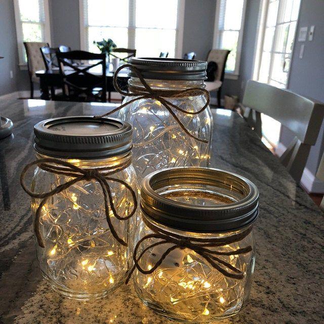 Hanging Mason Jar Lighted Mason Jars Mason Jars With Etsy Mason Jar Fairy Lights Wedding Centerpieces Mason Jars Graduation Mason Jars