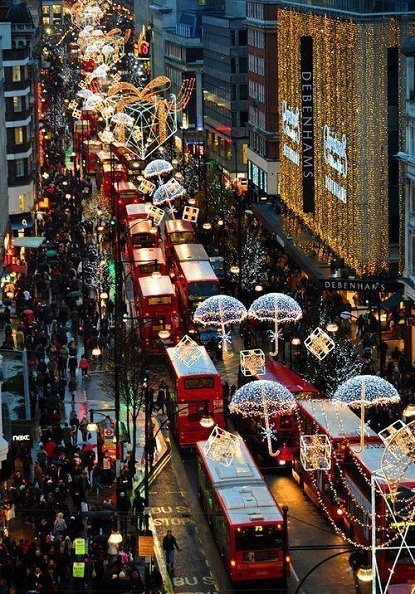 Oxford Street in London during Christmas time