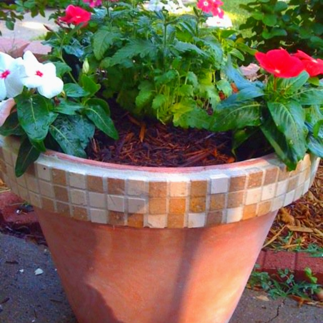 Made with inexpensive tile sheets, terra cotta pot and ...