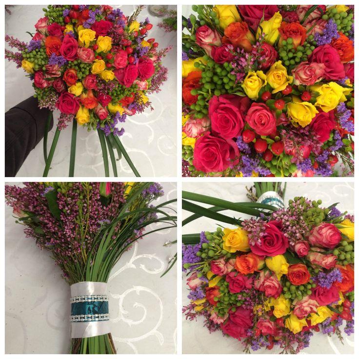 Annel's colourful bridal bouquet.