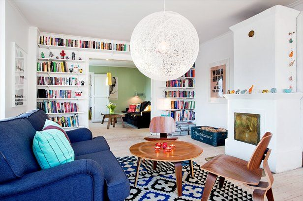 i just love me some cheerful white & colorful spaces