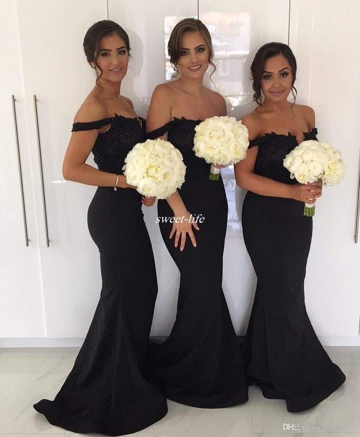 Black Mermaid Long Bridesmaid Dresses for Wedding 2017 Off Shoulder Lace Beading Plus Size Guest Formal Evening Gowns Maid of Honor Dresses