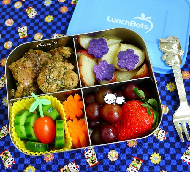 Herb Chicken and Potatoes LunchBots Quad Bento by sherimiya ♥,