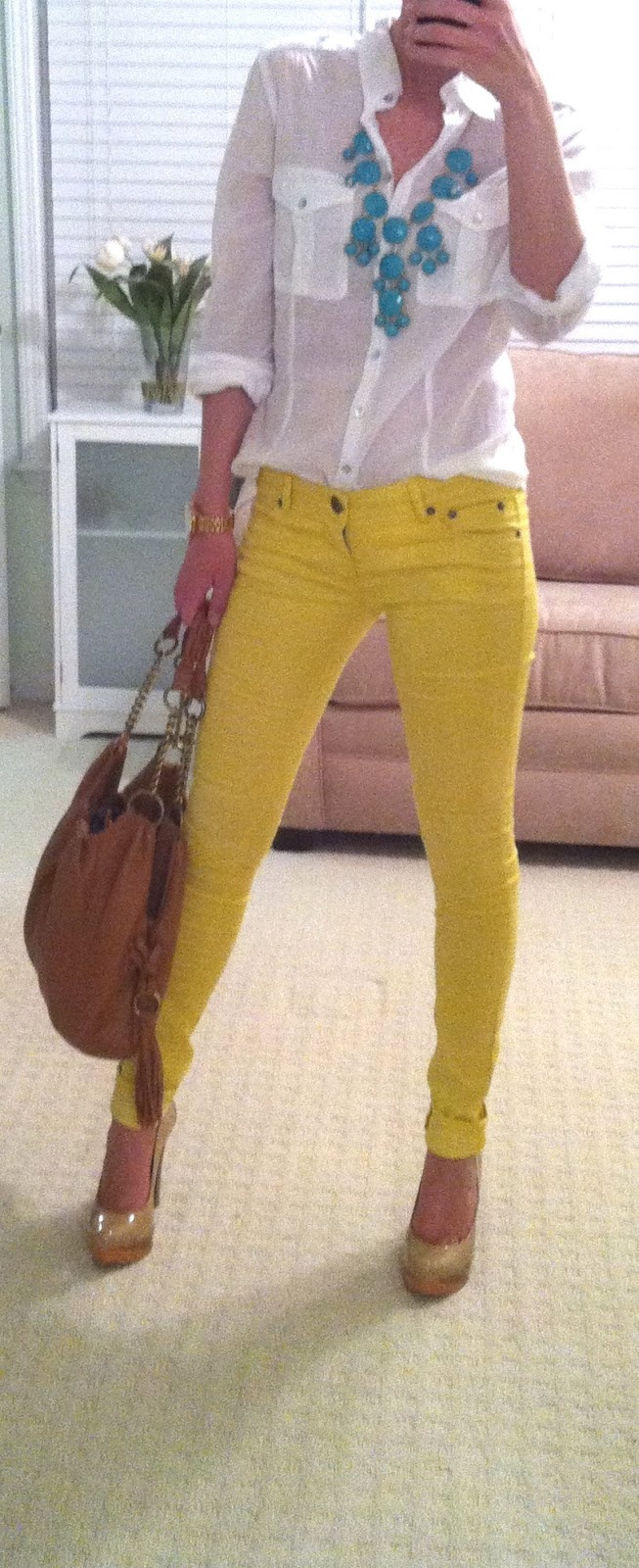 1000 images about how to wear color skinny jeans on for Mustard stain on white shirt