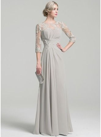 A-Line/Princess Scoop Neck Floor-Length Chiffon Mother of the Bride Dress With Ruffle (008091967)