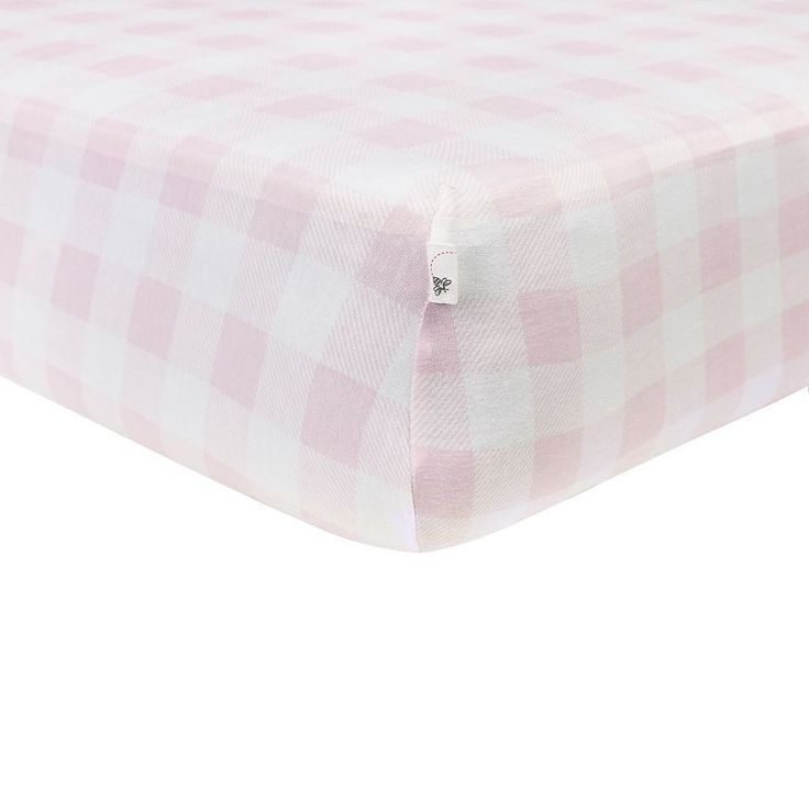 Burt's Bees Baby Organic Buffalo Check Fitted Crib Sheet, Pink One Size