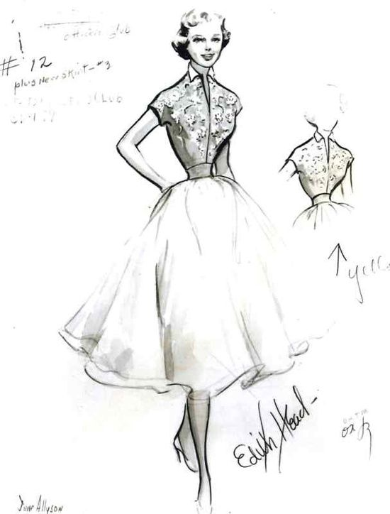 vintage fashion sketches | vintage fashion / Edith Head sketch for June Allyson in Strategic Air ...