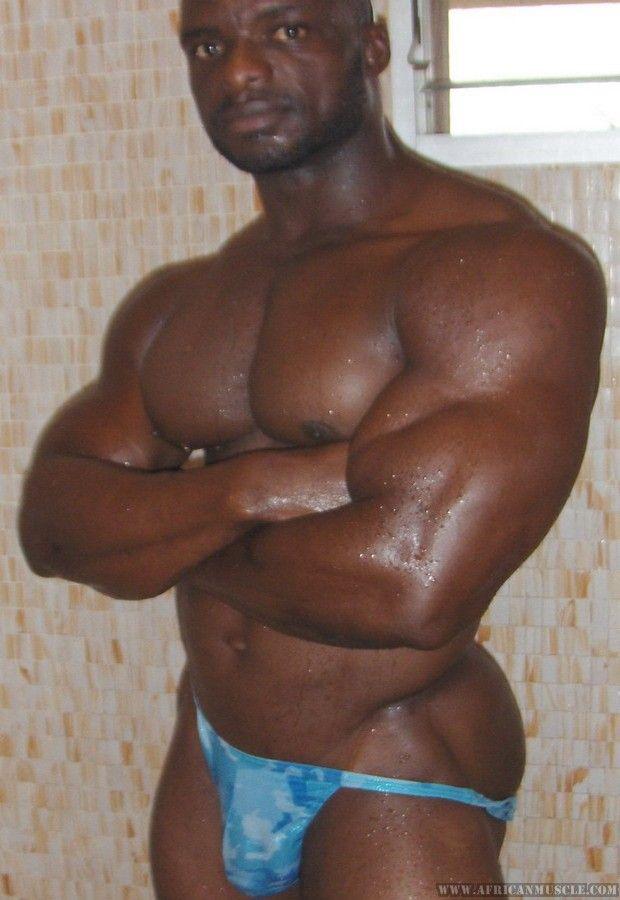 African dark skinned musclemen