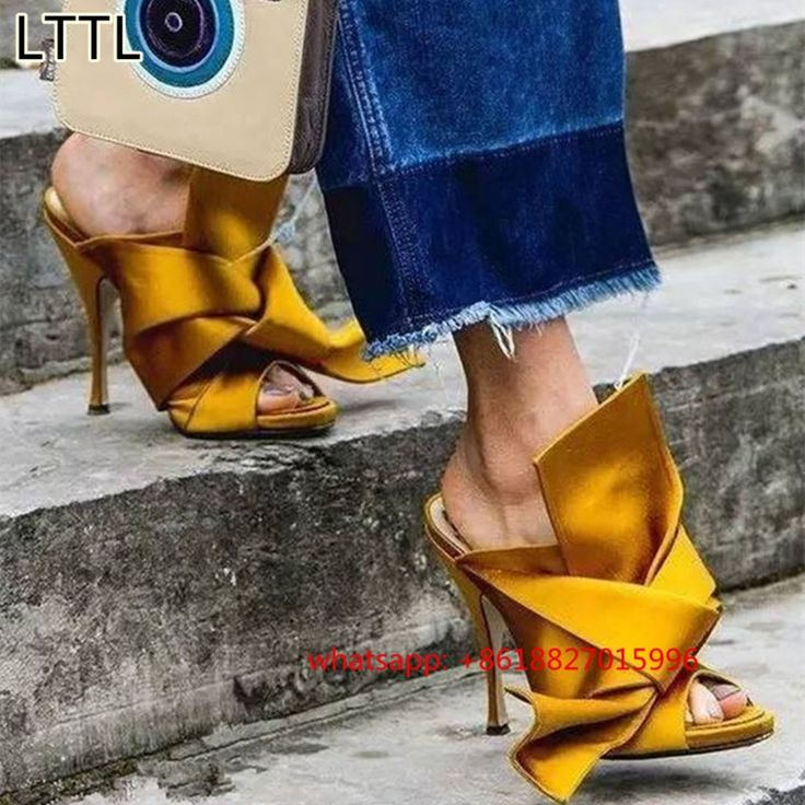 173.33$  Buy now - http://aliupd.worldwells.pw/go.php?t=32789654231 - New Fashion Bow Mules High Heels Women Slippers Knot Silk Summer Gladiator Sandals Women Pumps Sexy Ladies Shoes Woman Stiletto 173.33$