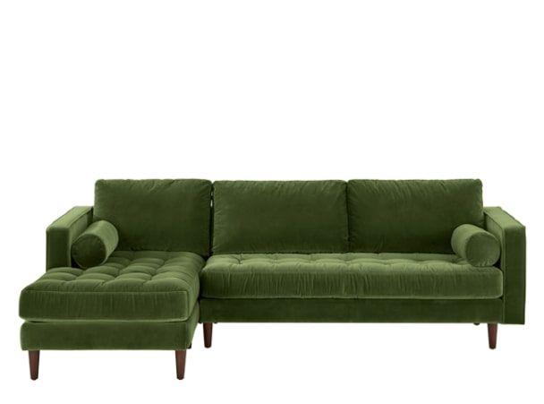 Scott 4 Seater Left Hand Facing Chaise End Sofa, Grass Cotton Velvet