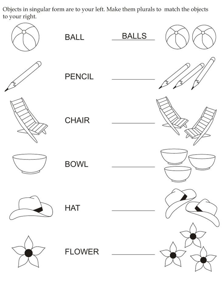 Make objects plurals | Download Free Make objects plurals for kids | Best Coloring Pages
