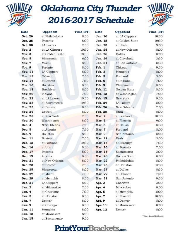 Printable Oklahoma City Thunder Basketball Schedule 2016 - 2017