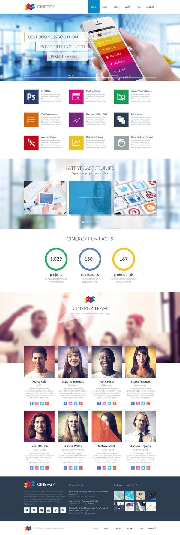 Cinergy - Modern Business HTML Template #html5templates #psdtemplates #websitetemplates