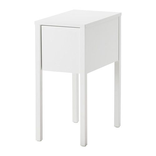 NORDLI  Nightstand, white    Key features  - On the hidden shelf is room for an outlet strip for your chargers.  - The cable to the outlet can be hidden in the groove along the table leg.  - In the drawer is a removable insert where you can put all your small things.    $79.99	  Article Number:   402.192.85