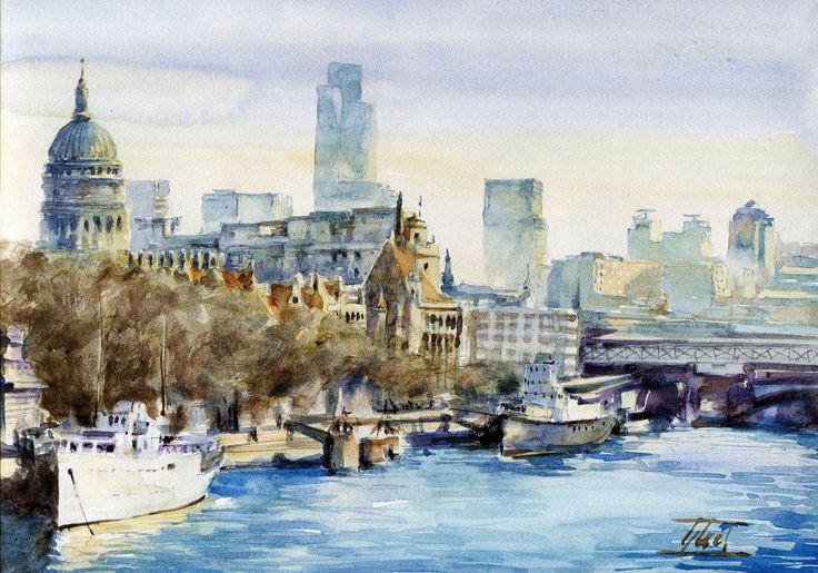 #London #Watercolour - 21cm x 30cm Jaroslaw Glod - http://www.artende.pl